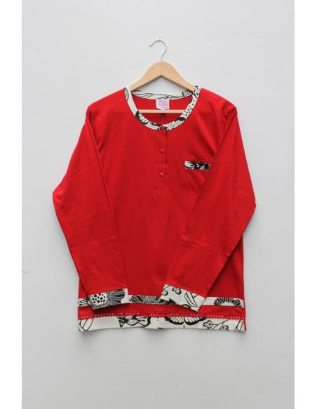 Pyjama femme pantalon rouge coton rose pomme
