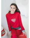 Pyjama pantalon femme coton manches longues Rose Pomme