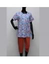 Pyjama femme boutonné manches courtes imprimé Rose Pomme
